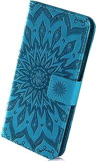 Herbests Housse de téléphone en Cuir Etui de Protection Motif PU Cuir Portefeuille Folio Housse Case Cover Couverture avec Fonction Stand pour Galaxy J4 Core, Violet