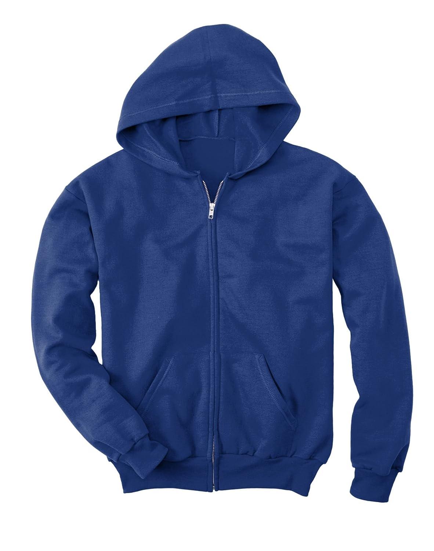 DEEP ROYAL ComfortBlend EcoSmart 50//50 Full-Zip Hood Hanes Youth 7.8 oz Large