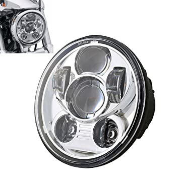 Transauto 1 pcs 5-3//4 5.75 Round LED Projection Daymaker Headlight for Harley Davidson Motorcycles Black