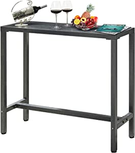 """Mr IRONSTONE Outdoor Bar Table 46.5"""" Pub Height Dining Table Bistro Patio Table with Waterproof Top and Hammer Finish Stands"""