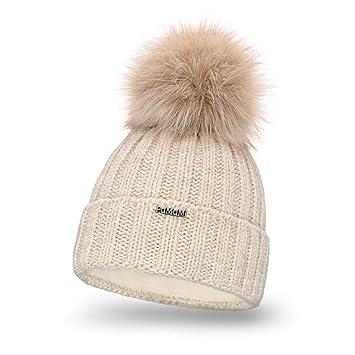 656f40583a5 PaMaMi 18574 Bonnet d hiver en Tricot Chaud avec Pompon pour Femme Bonnet à  Pompon