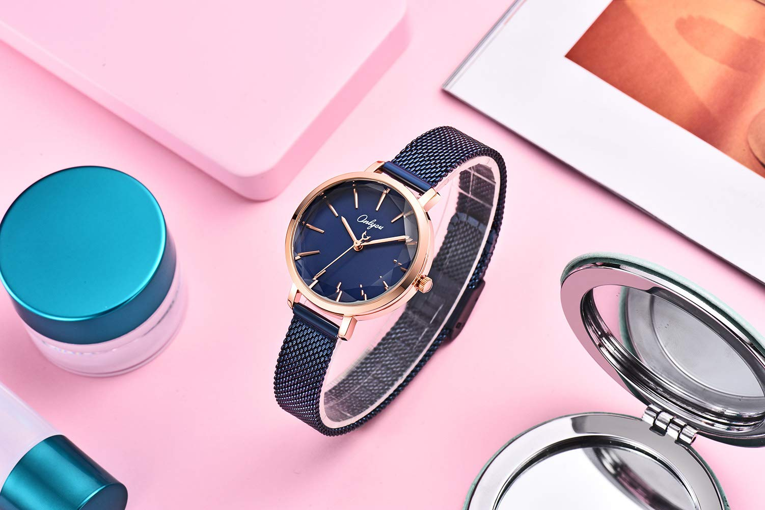ONLYOU Women's Fashion Watches,Unique Face Design and 30M Waterproof,Analog Quartz Wristwatches with Stainless Steel Mesh Band (Blue) by onlyou (Image #3)