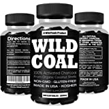 Activated Charcoal from 100% Organic Coconut Shells by Wild Foods - Digestion, Gas Relief, Ease Hangovers - Kosher, Lab Tested, USA made, Non-GMO, Premium Purity (100 Capsules)