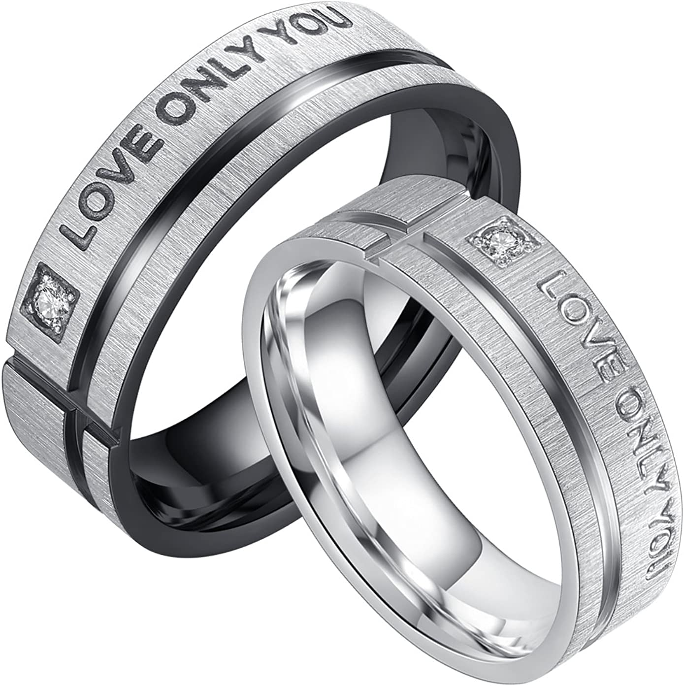 LineAve Love Only You His or Her Couple Promise Ring Mens Womens Wedding Band Stainless Steel
