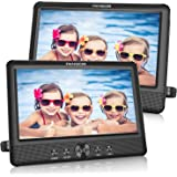 FANGOR 10.5 Dual DVD Player for Car Portable Headrest Video Players with 2 Mounting Brackets, 5 Hours Rechargeable…