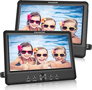 FANGOR 10.5 Dual DVD Player for Car Portable Headrest Video Players with 2 Mounting Brackets, 5 Hours Rechargeable Battery, Last Memory, USB/SD Card Reader, AV Out&in ( 1 Player + 1 Screen )