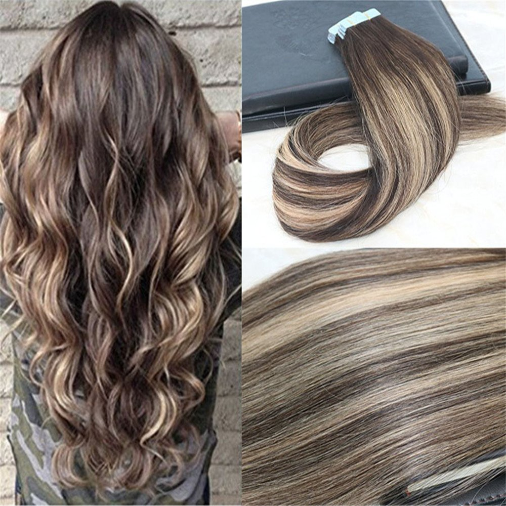 HairDancing 22'' 40Pcs 100g Per Package Salon Quality Professional Hair Ombre Color #2 Fading to #3 and 27 Balayage Dip Hair Extenison Tape Hair Extensions Human Hair Seamless Remy Hair Extensions