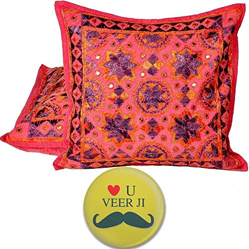 Little India Hand Embroidered Cotton 2Pc. Cushion Covers Set 815