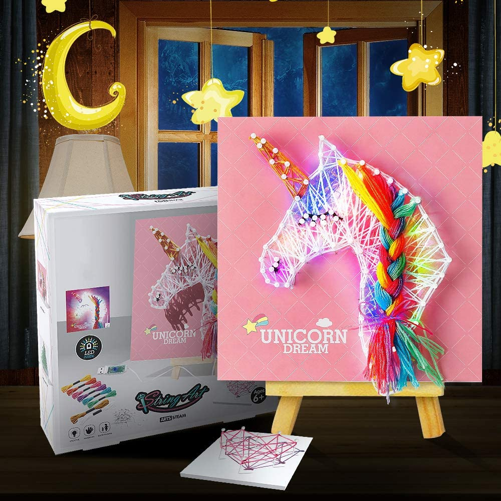 String Art Kit with LED Light for Kids, Light up Unicorn Decoration, DIY Handmade New Year Christmas Home Decorations Xmas Ornaments, Toys Gift for Age 8 9 10 11 12+ Girls Boys