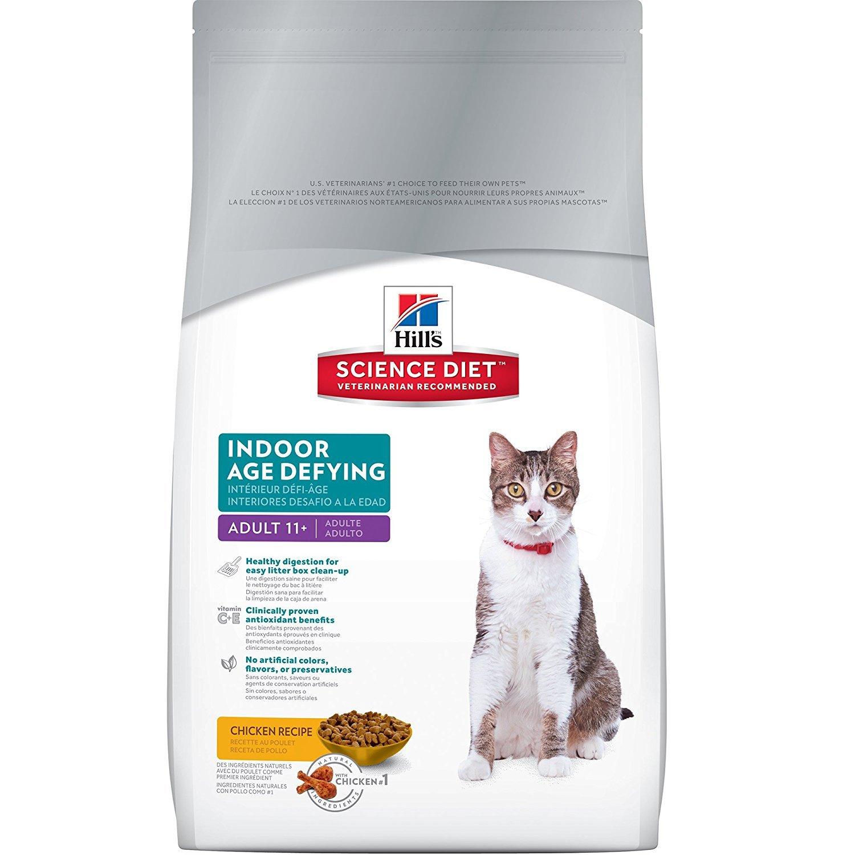 Hill's Science Diet Senior Indoor Cat Food, Adult 11+ Age Defying Chicken Recipe Dry Cat Food, 7 lb Bag