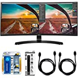 LG Curved UltraWide IPS Monitor (34UC88) with Xtreme Performance TV/LCD Screen Cleaning Kit, Xtreme 6 Outlet Power Strip & 2x General Brand HDMI to HDMI Cable 6'