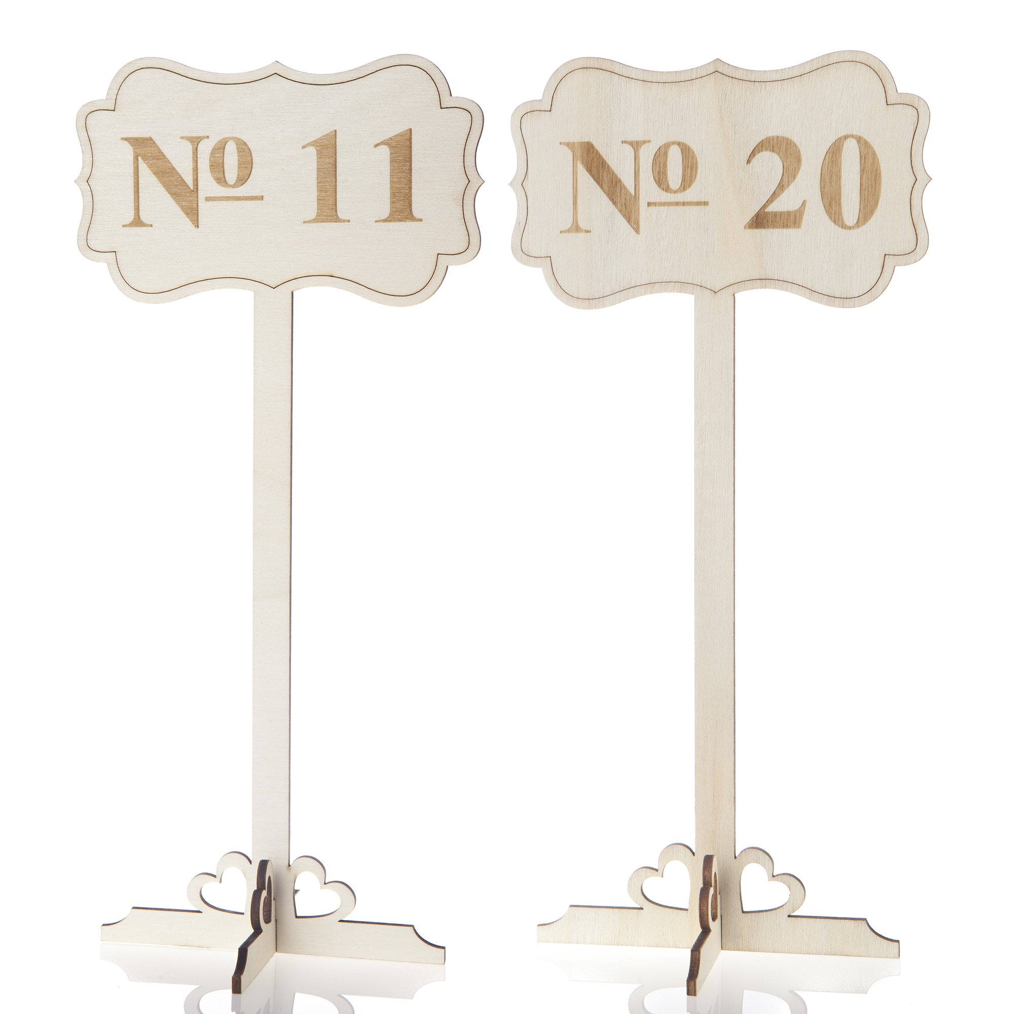 Ella Celebration Wooden Wedding Table Numbers 11-20, Tall Rustic Wood Number Holders Stands (Numbers 11-20)