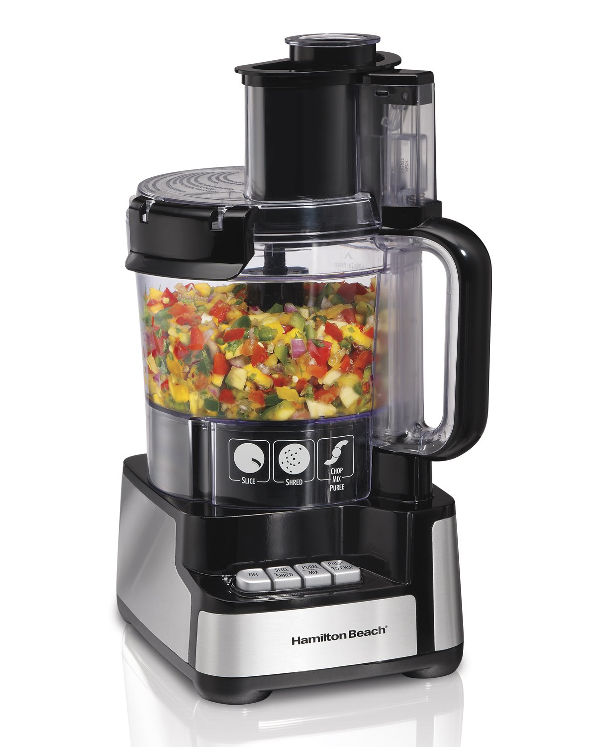 Hamilton Beach 70725A 12-Cup Stack & Snap Food Processor and Vegetable Chopper, Black