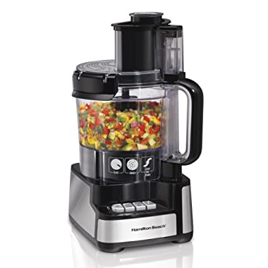 Hamilton Beach 70725A 12-Cup Stack & Snap Food Processor and Vegetable Chopper Black