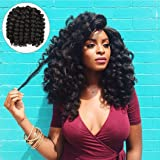 Alivovo 8 Inch Jumpy Wand Curl Braids Hair 4 Packs/Lot 20 Roots Jamaican Bounce Crochet Twist Braids Sensational African Collection Braiding Hair 110g (Black)
