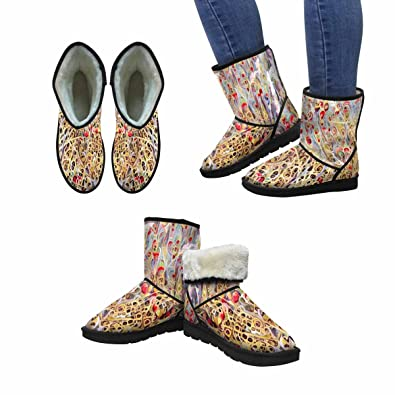Women's Snow Boots Unique Designed Comfort Winter Boots Beautiful Flower