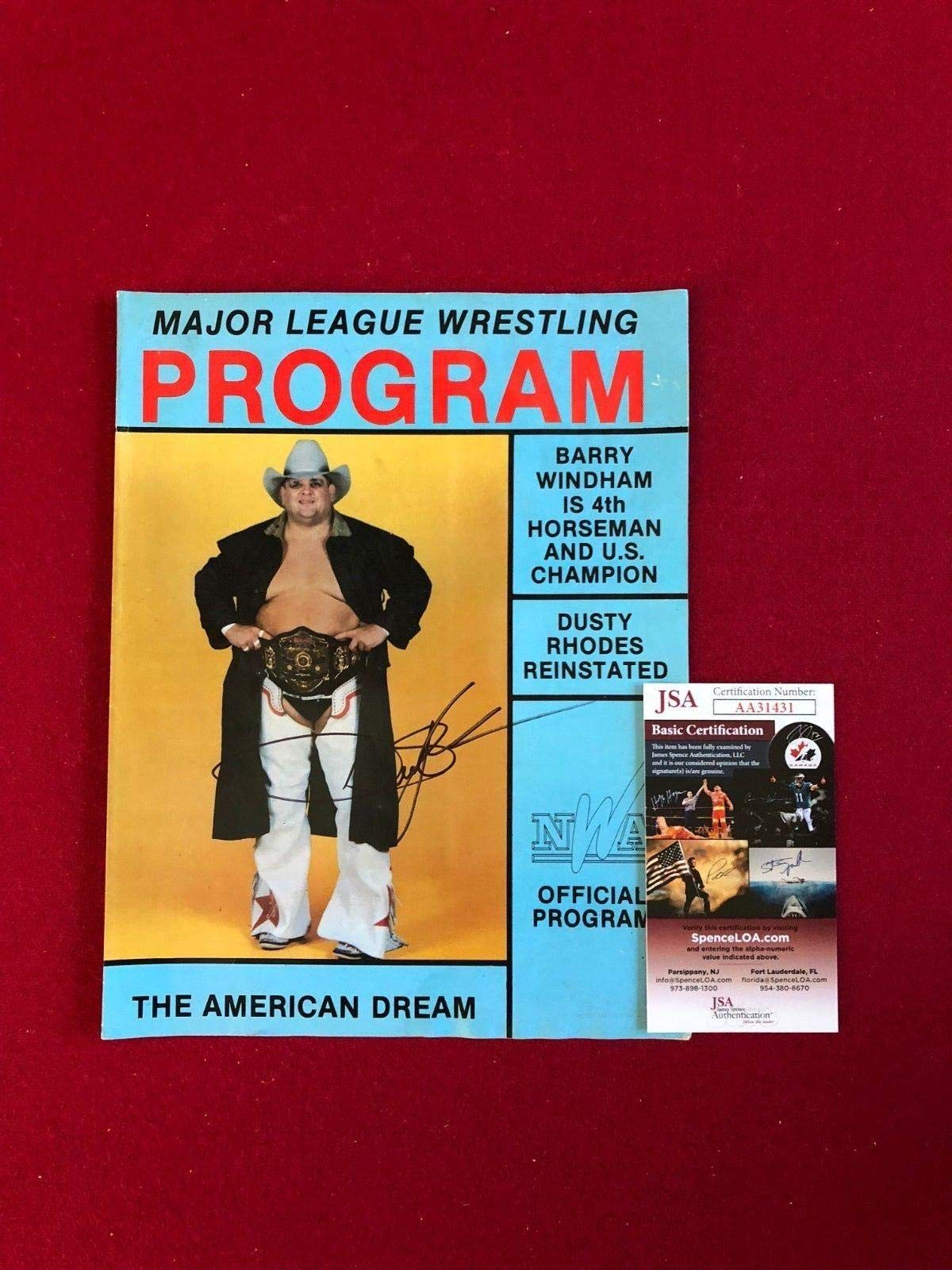 "1988, Dusty Rhodes,""Autographed""(),""Major League Wrestling Program"" (Scarce) JSA Certified Autographed MLB Magazines"