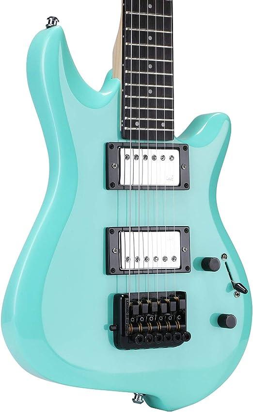 Asmuse Guitarra Eléctrica sin Cabeza, Guitarra LEAF pequeña de Escala Completa, Ultra-ligero para Viajes y Presentaciones (Cielo Azul)