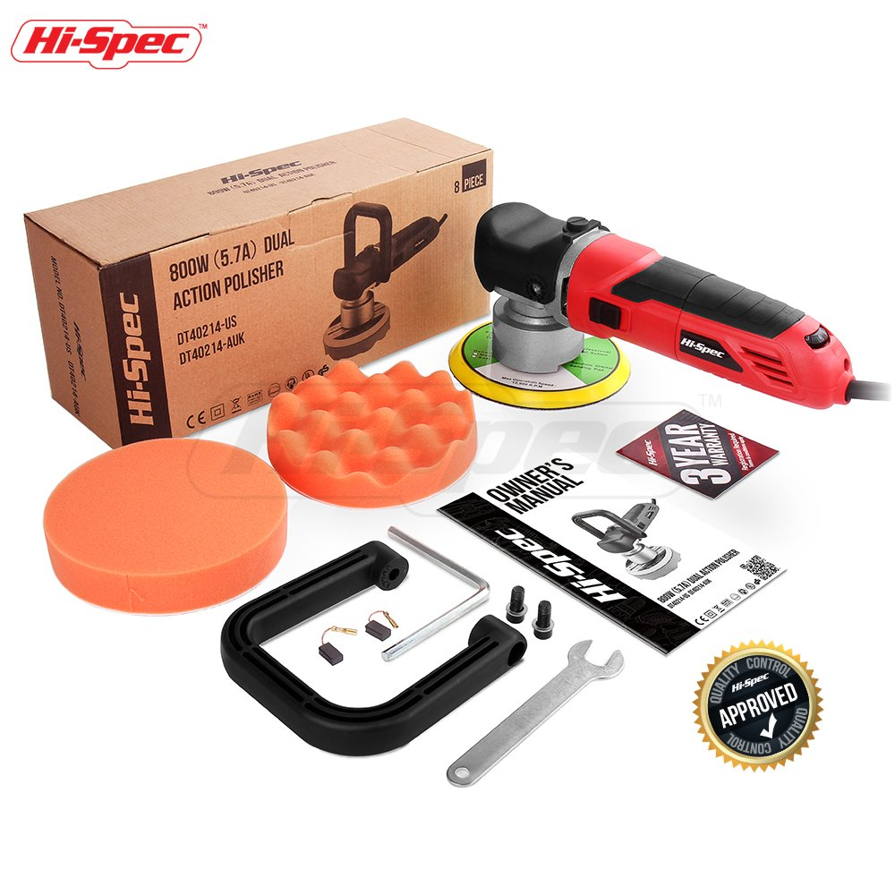 "Hi-Spec Heavy Duty 5.7A Dual Action Random Orbital 6"" Polisher - Variable Speed Wheel, Constant Speed Switch & 2pc Sponge Polishing Pads - Buff & Polish Bodies, Spots & Detail Car Paint by Hi-Spec Tools (Image #5)"