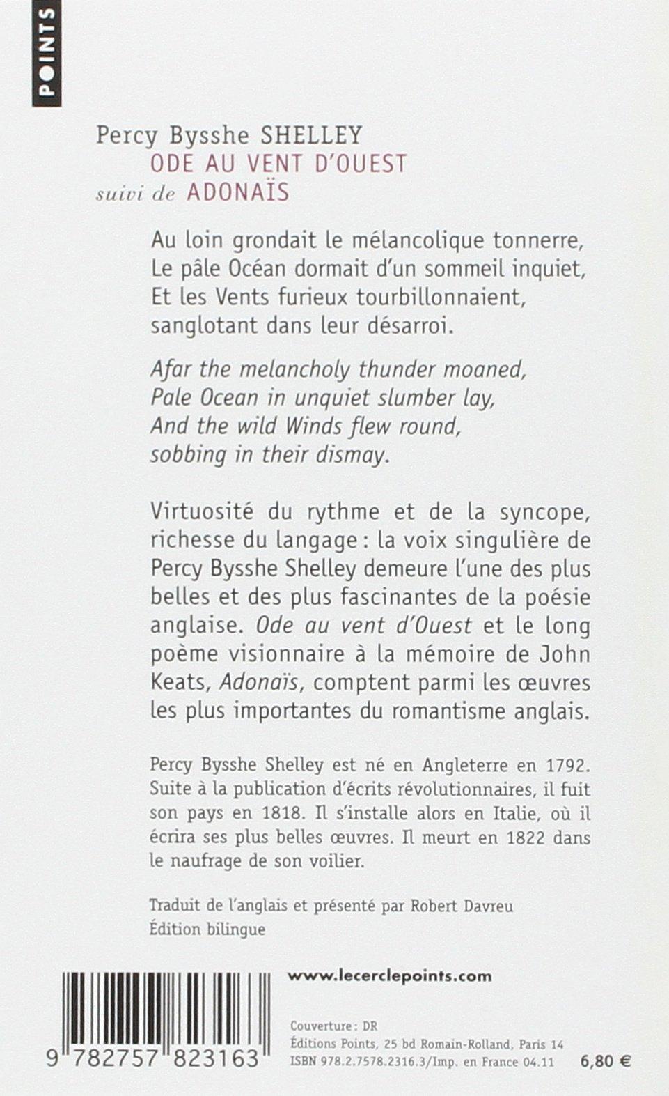 Amazonfr Ode Au Vent Douest Adonaïs Et Autres Poèmes