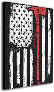 Arnold Glenn Firefighter Axe Red Line Flag Canvas Wall Art Prints Picture Contemporary Paintings Home Decoration Giclee Artwork Wood Frame Gallery Stretched