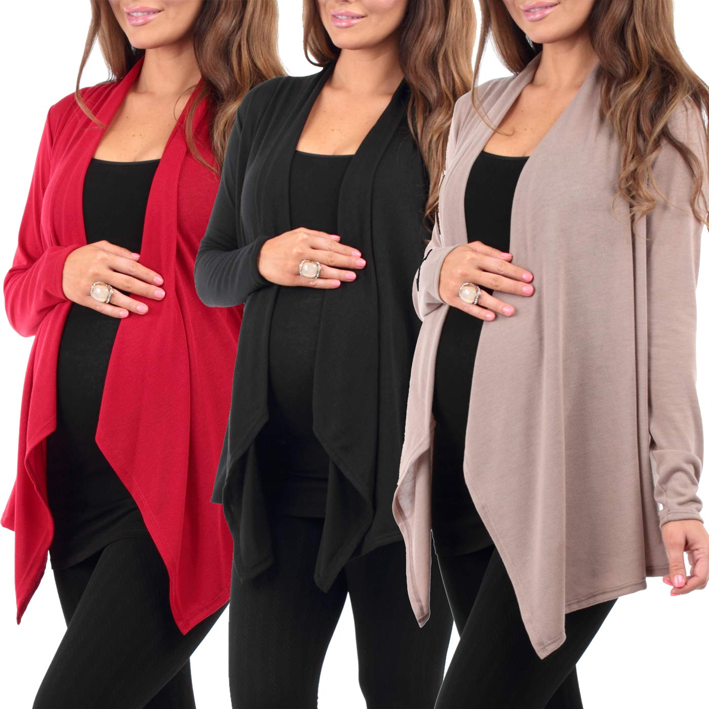 3 Pack Women's Hacci Maternity and Nursing Cardigan by Rags and Couture - Made in USA Medium