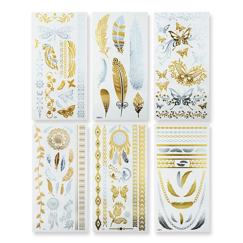 Flash Metallic Temporary Tattoos,KINGHORSE 6 Sheets with 80+ Flash Fake Tattoo Stickers for Women,Jewelry Tattoos Included Flower,Leaf,Butterflies,Dreamcatcher