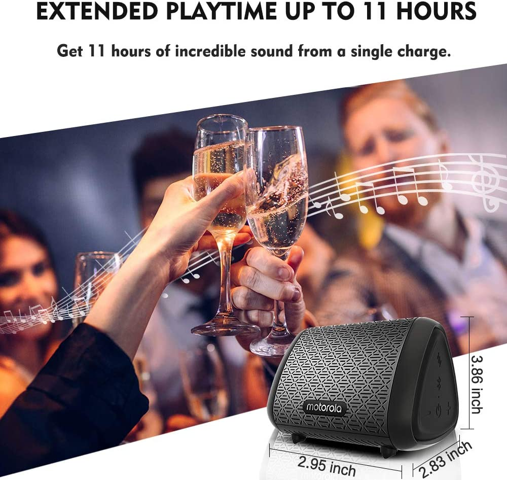 11Hours Speaker Compatible with Voice Assistant Motorola SonicSubs240 Portable Bluetooth Speakers IPX5 Splash Proof Bluetooth Speaker Loud Extra Bass Portable Speakers Bluetooth Wireless