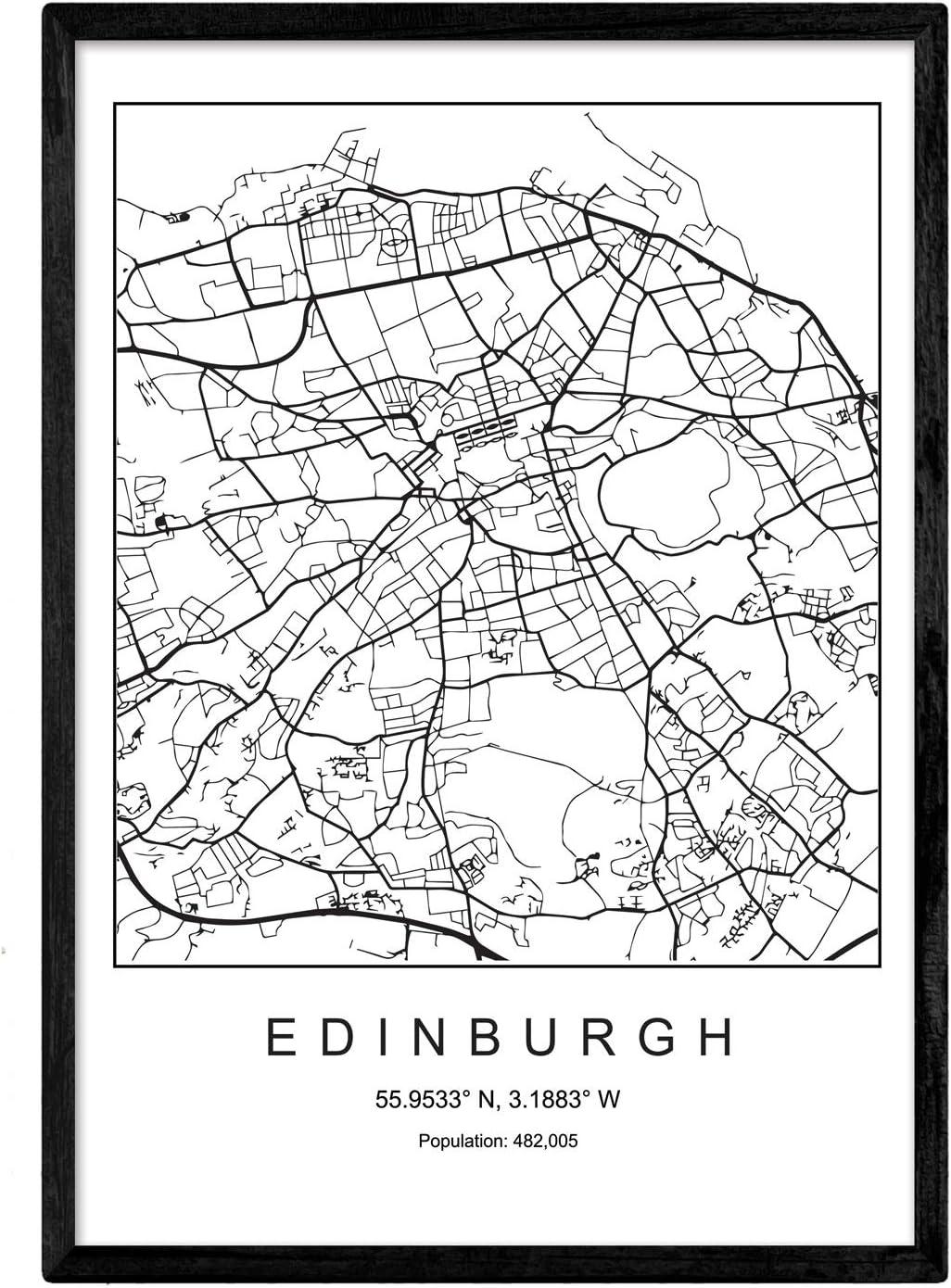 Nacnic Lámina Mapa de la Ciudad Edinburgh Estilo nordico en Blanco ...
