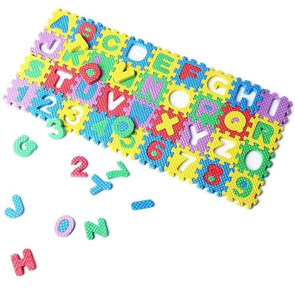 Eutuxia Alphabet Letters Numbers Mini Puzzle Pieces for Building Blocks Floor Play Mat. Fun and Colorful Educational Learning Toy for Toddlers Babies and Kids. Safe Non Toxic EVA Foam. 36 Pcs