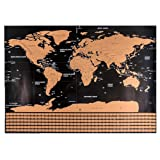 """Polly Online Scratch Off World Map Travel World Map Poster Education World Map with Scratch Map with Countries Flag Track Map for Traveler 82""""X"""