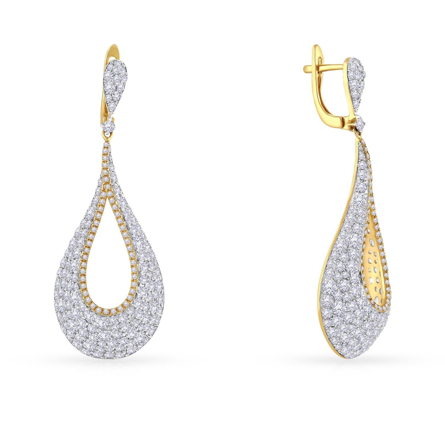Malabar Gold and Diamonds 18KT Yellow Gold and Diamond Drop Earrings for Women