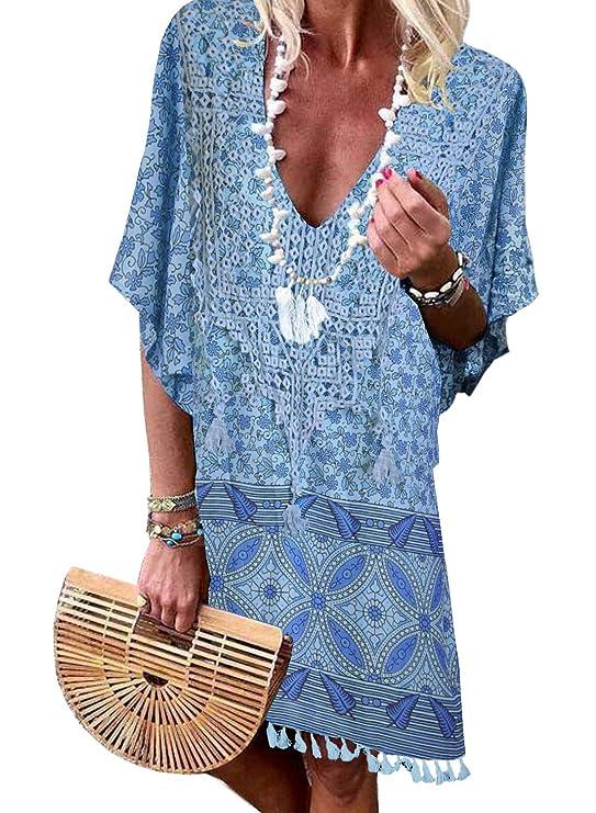 Aleumdr Womens Crochet Tassel Swimsuit Bikini Pom Pom Trim Swimwear Beach Cover Up by Aleumdr
