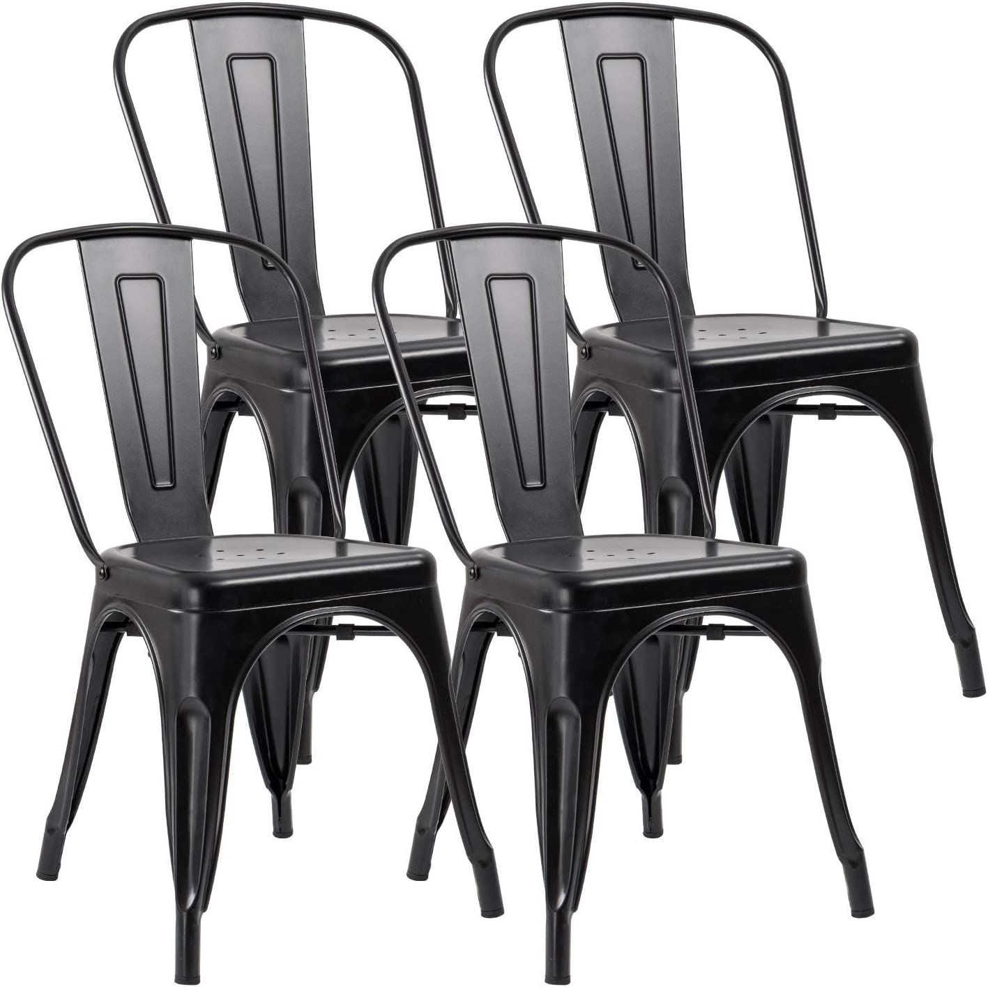 JUMMICO Metal Dining Chair Stackable Indoor-Outdoor Industrial Vintage  Chairs Bistro Kitchen Cafe Side Chairs with Back Set of 10 (Black)