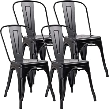 Amazon Com Jummico Metal Dining Chair Stackable Indoor Outdoor Industrial Vintage Chairs Bistro Kitchen Cafe Side Chairs With Back Set Of 4 Black Chairs