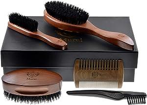 Murai Beard Kit for Men GMK2F Mens Beard Grooming Kit - Military Hair Brush, Oval Beard Club Brush, Pocket Sized Travel Beard Brush, Wood Beard Comb, and Hairbrush Cleaner