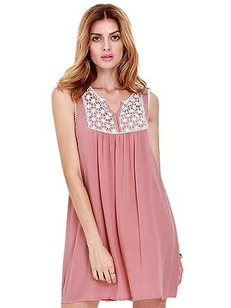 99da228423d ROMWE Robe Courte - Trapèze - Ample Sans Manches Femme L Rose Claire ...