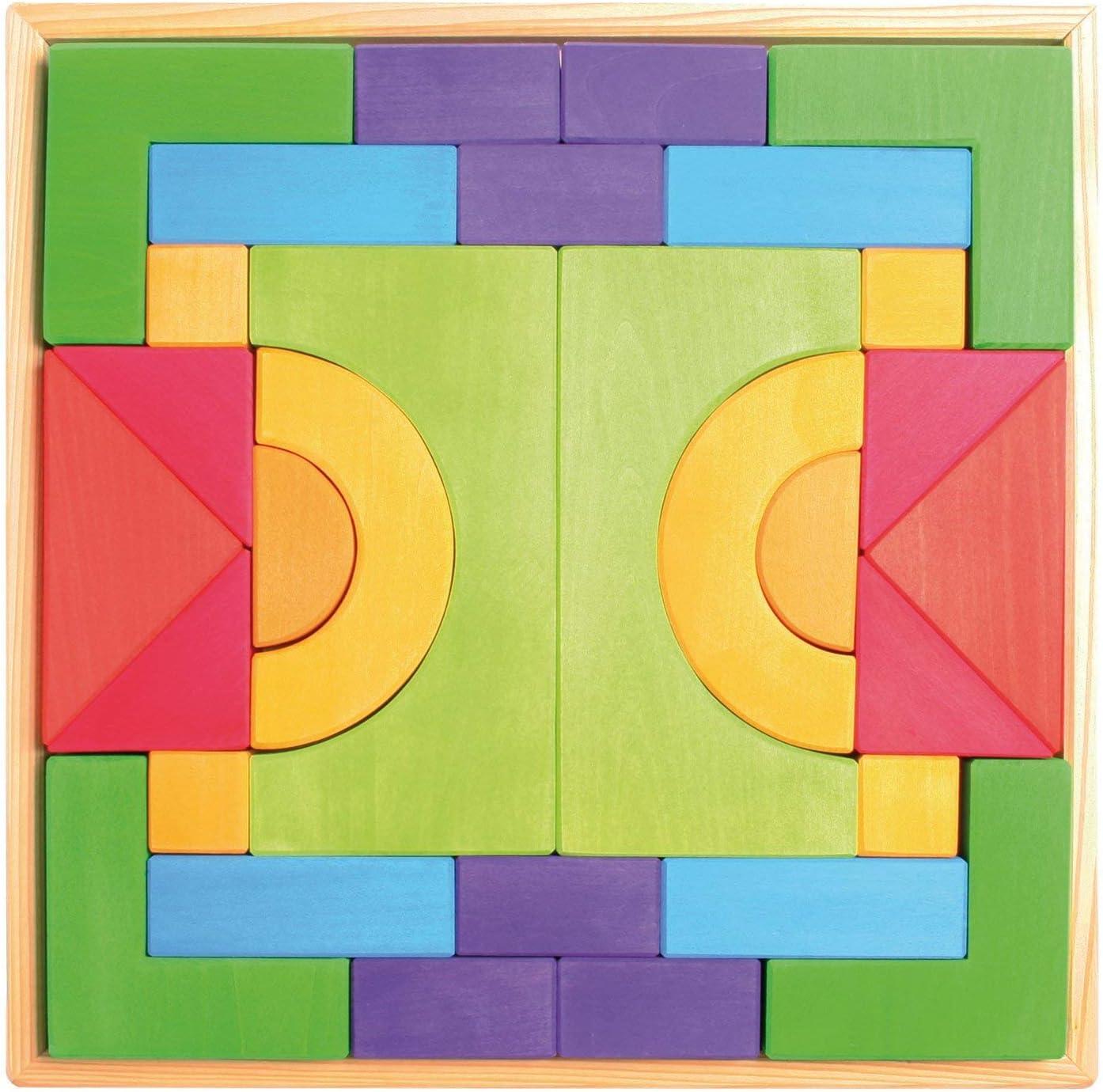 Grimm'S Large Basic Building Satz - Handmade Wooden Modular Blocks, 30 Pieces bei 17-Inch Storage Tray (4X4 Size)