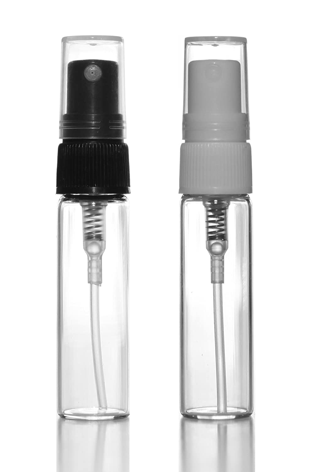 Riverrun Glass Perfume Atomizers, Black and White Fine Mist Bottles 4ml .14 oz Set of 2 1 of each color