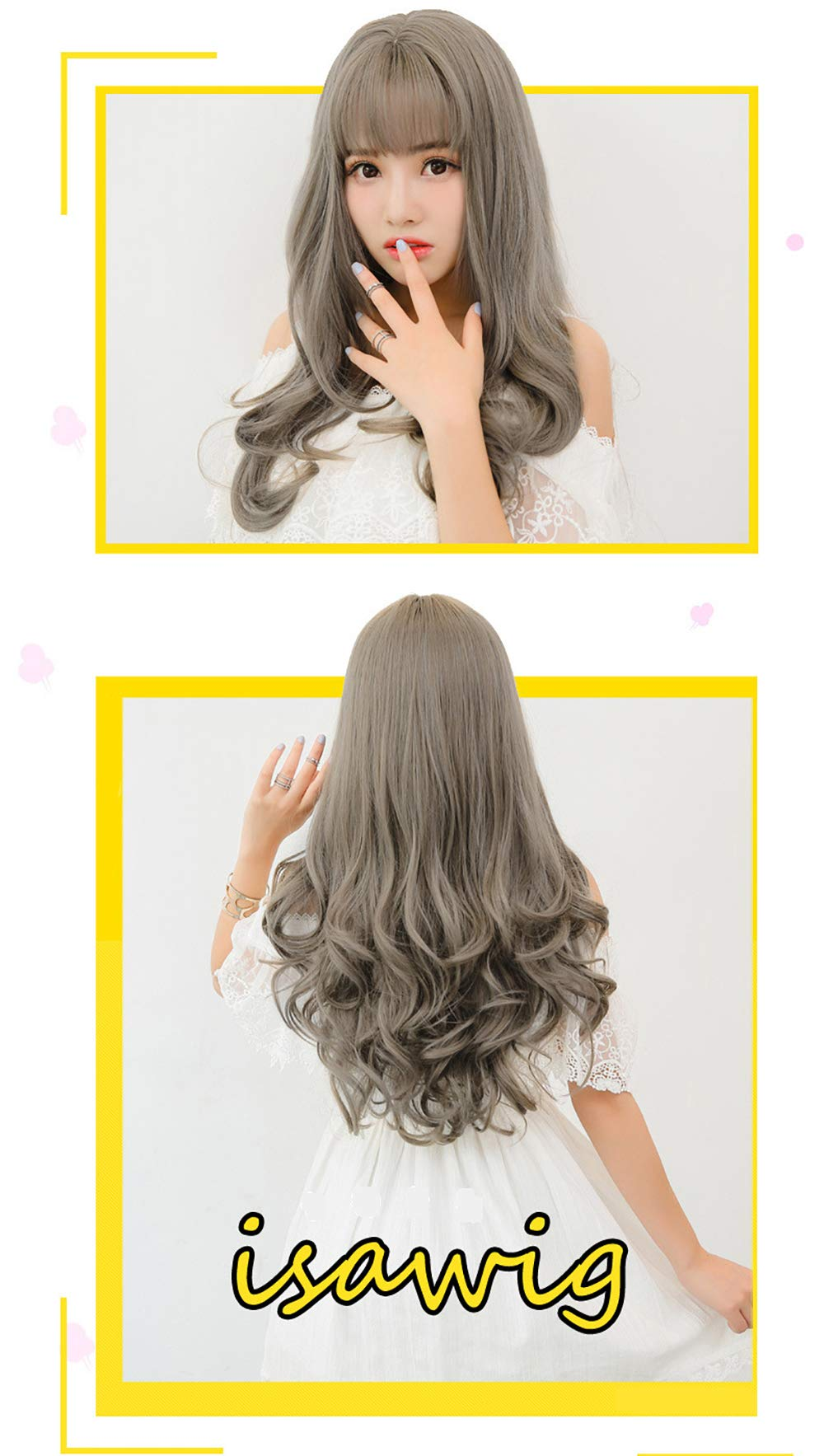 Wigs for Women Human Curly Hair Long Wigs 22 Inch Natural as Real Hair with Bangs Wig (Gray)