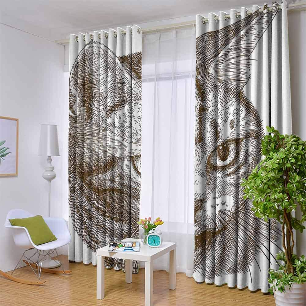 YUAZHOQI Bedroom Curtains Cute Black Cat Figures on White Backdrop Playful Friendly Animals Posing Domestic Pets Light Blocking Drapes for Nursery 63 Inches Long Black White