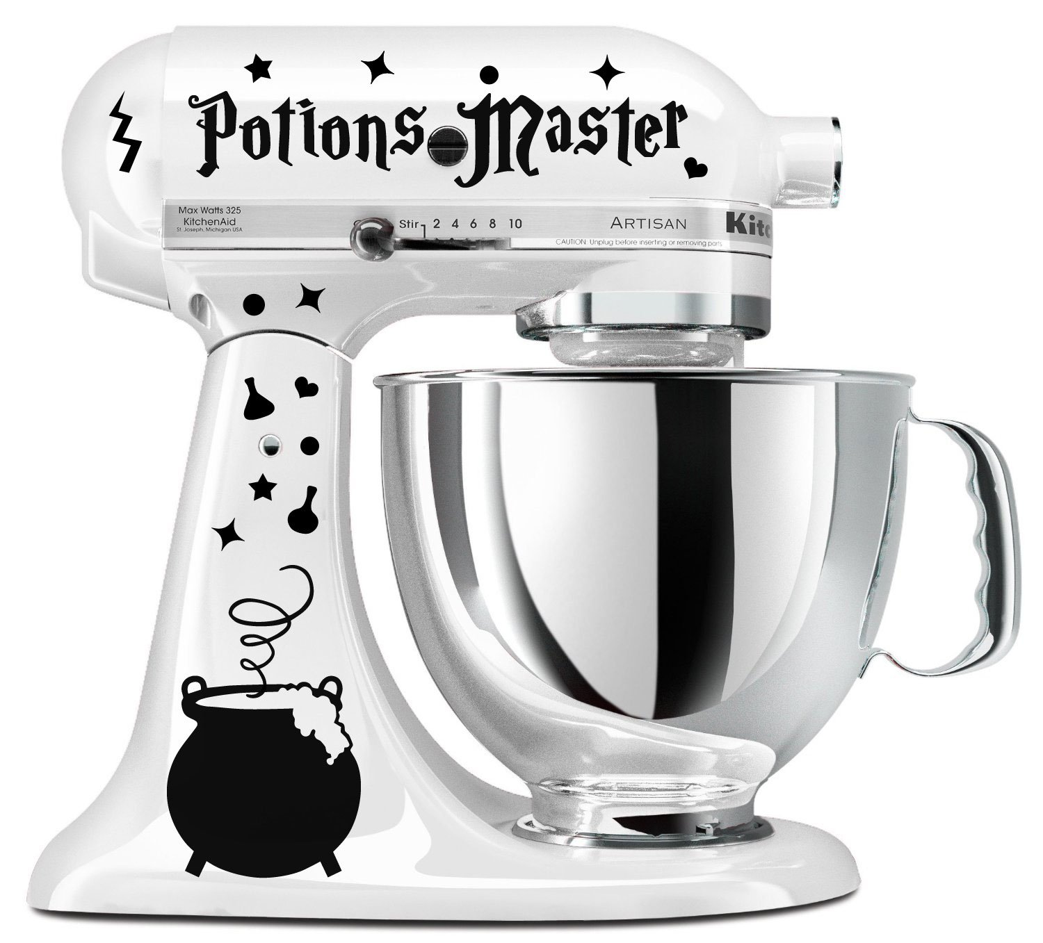 Potions Master Wizard Cauldron Black Vinyl Decal Set For Stand Mixer (Mixer Not Included)