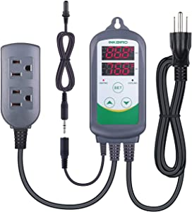 Inkbird ITC308S Temperature Controller for Aquarium with Submersible Probe, Heating Cooling Outlets Thermostat for Heater and Cooling Fans