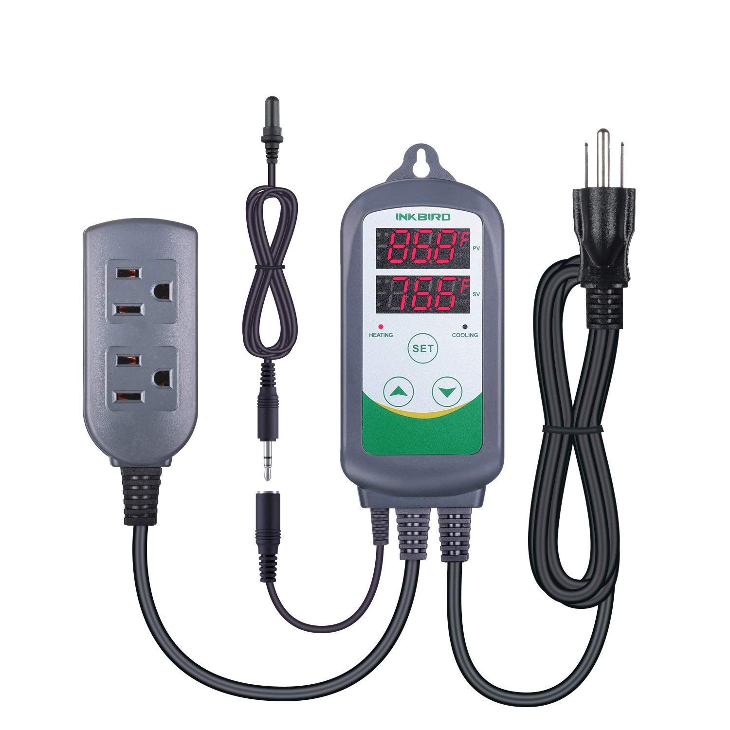 Inkbird ITC308S Temperature Controller for Aquarium with Submersible Probe, Heating Cooling Outlets Thermostat for Heater and Cooling Fans by Inkbird