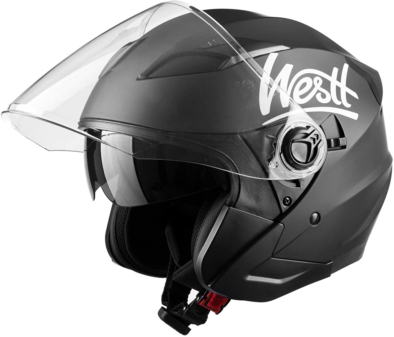 Westt Jet - Casco de Moto Abierto Negro Mate con Doble Visera para Motocicleta Scooter - Certificado ECE