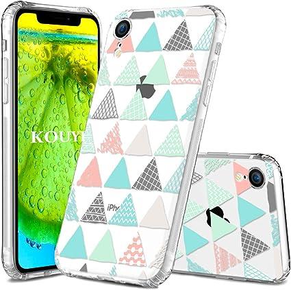 KOUYI Cover iPhone XR,Trasparente con Disegni, Morbida Silicone Ultra Sottile TPU Gel Custodia Protettiva Compatibile con Apple iPhone XR (Triangolo ...