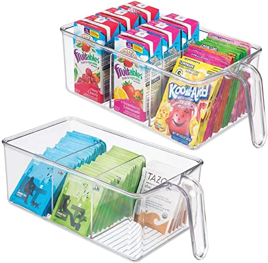 Amazon Com Mdesign Plastic Kitchen Pantry Cabinet Refrigerator Food Storage Organizer Bin Holder With Handle For Organizing Individual Packets Snacks Food Produce Pasta Medium 2 Pack Clear Kitchen Dining