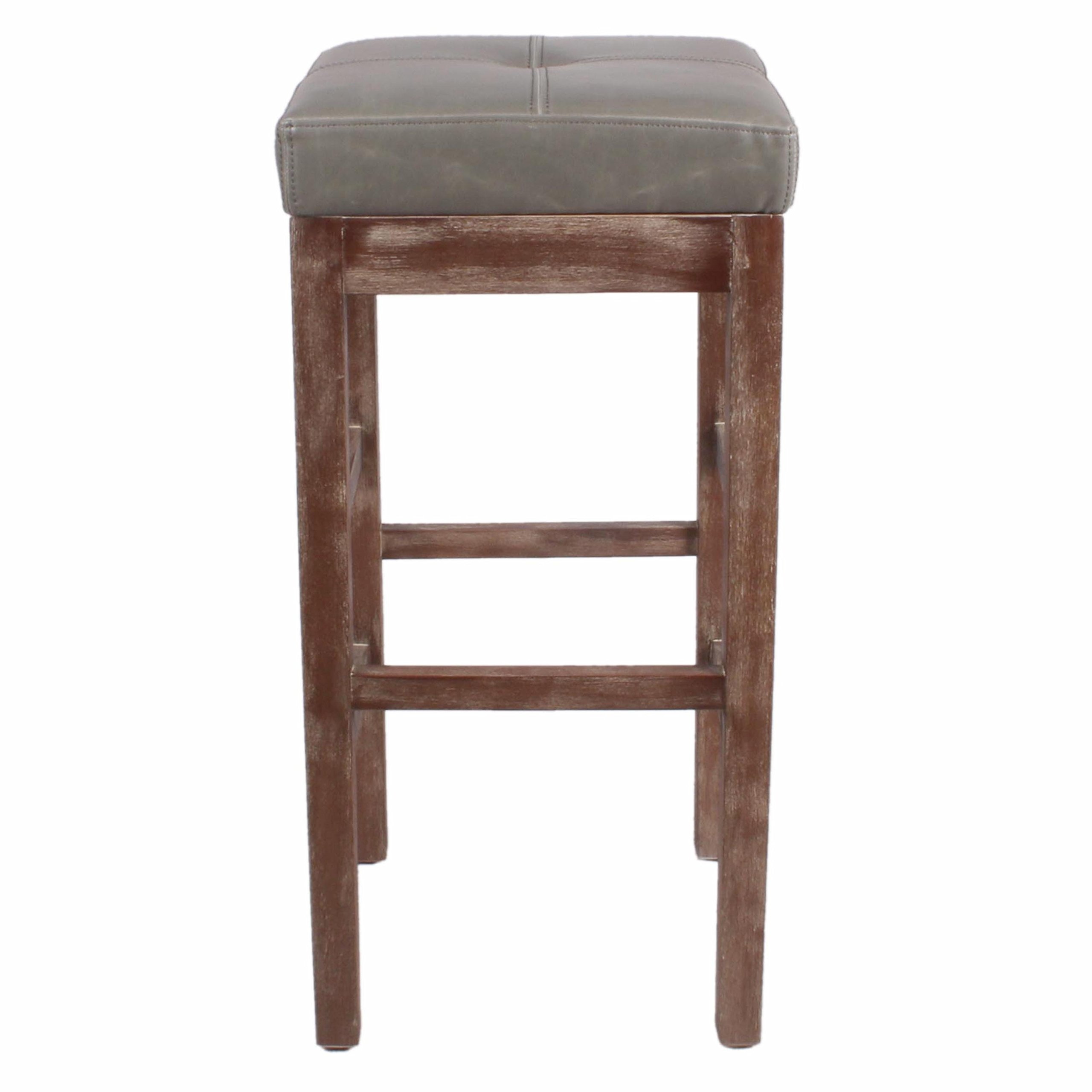 New Pacific Direct Valencia 27'' Bonded Leather Counter Stool, Drift Wood Legs, Vintage Gray by New Pacific Direct (Image #3)
