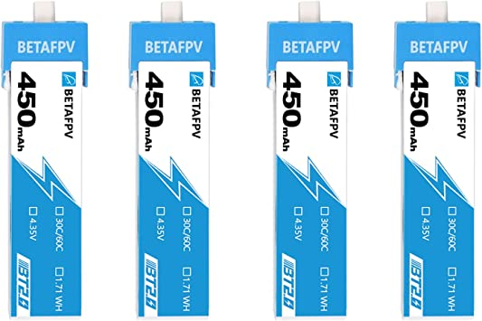 Opinión sobre BETAFPV 4pcs BT2.0 450mAh 1S Battery 4.35V 30C/60C FPV Lipo with BT2.0 Connector for FPV Tiny Whoop 1S Brushless Whoop Drone Like Meteor75 Tinyhawk