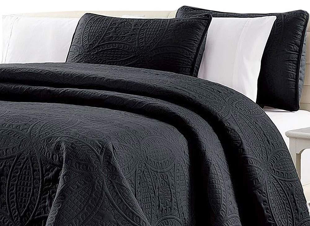 ソリッド クラシック ステッチ メダリオン パターン ラグジュアリー グレー エレガント ギフト 寝室 ホーム ベッドルーム コンドー ホテル コンテンポラリー キングサイズ ベッドスプレッド オーバーサイズ ベッドカバー セット 3 ピース ブラック B07NYG7MM3